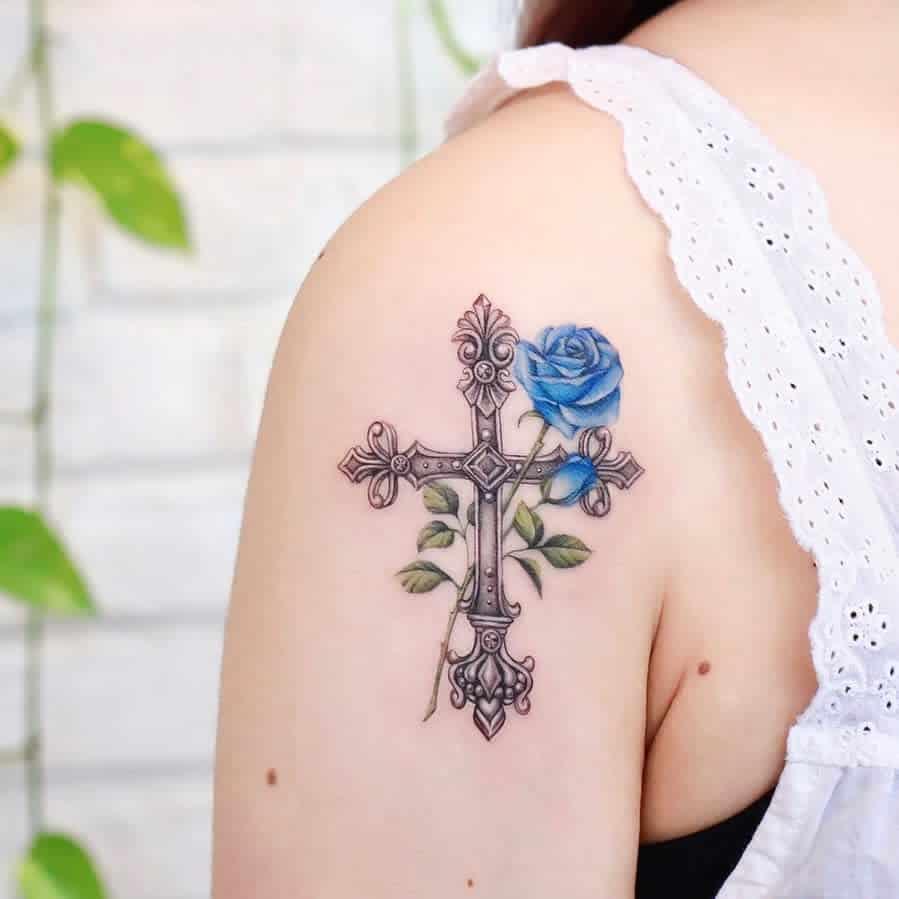 shoulder blue rose tattoos 2 xiso_ink