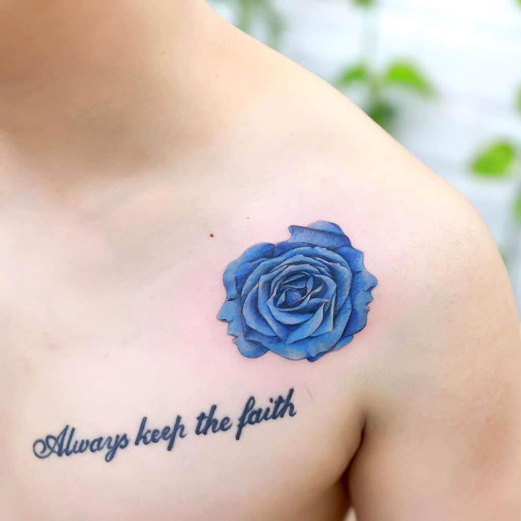 shoulder blue rose tattoos xiso_ink