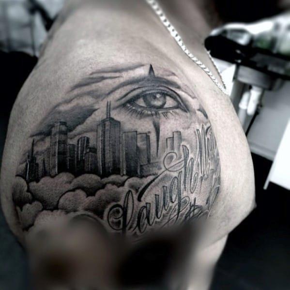 Shoulder Cap Guys Skyline Tattoos
