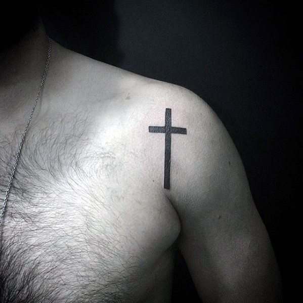 Shoulder Cool Simple Cross Guys Tattoos