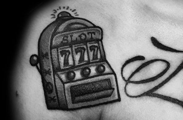 Shoulder Dotwork Male Slot Machine Tattoo Ideas