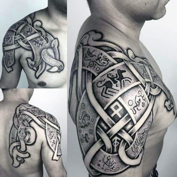 Shoulder Dotwork Norse Guys Tattoo Ideas Great Designs