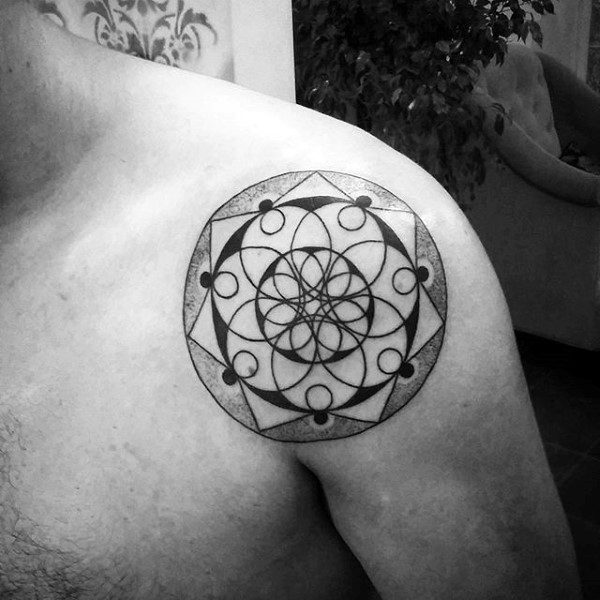 Shoulder Floral Geometric Circle Male Tattoo Ideas