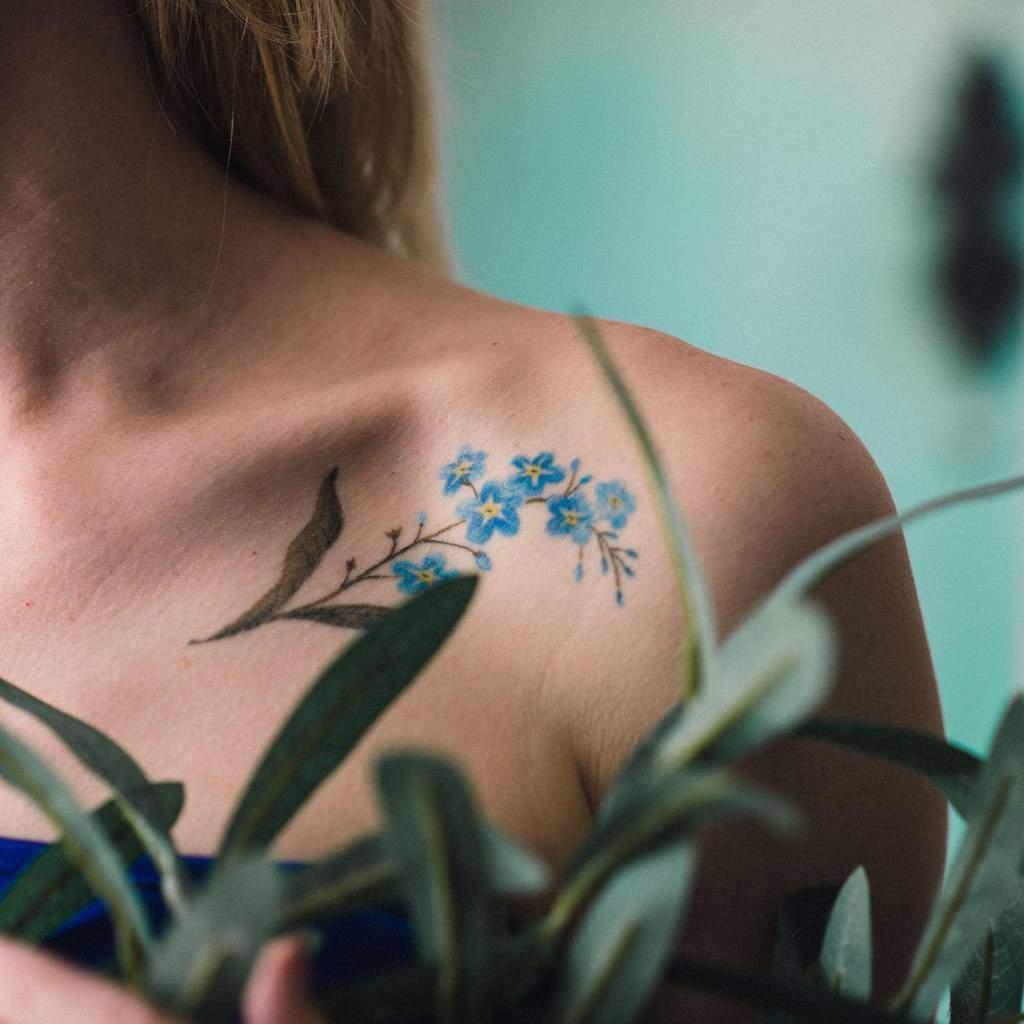 shoulder forget me not tattoos agaagna