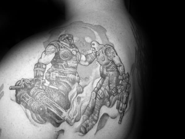 Shoulder Gears Of War Battlle Tattoos For Guys