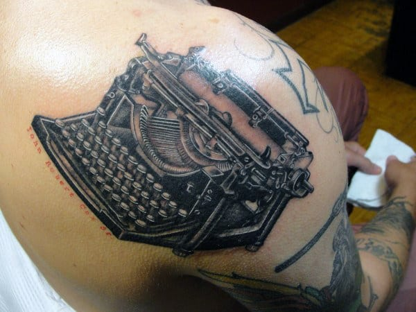 Shoulder Guys Typewriter Tattoo