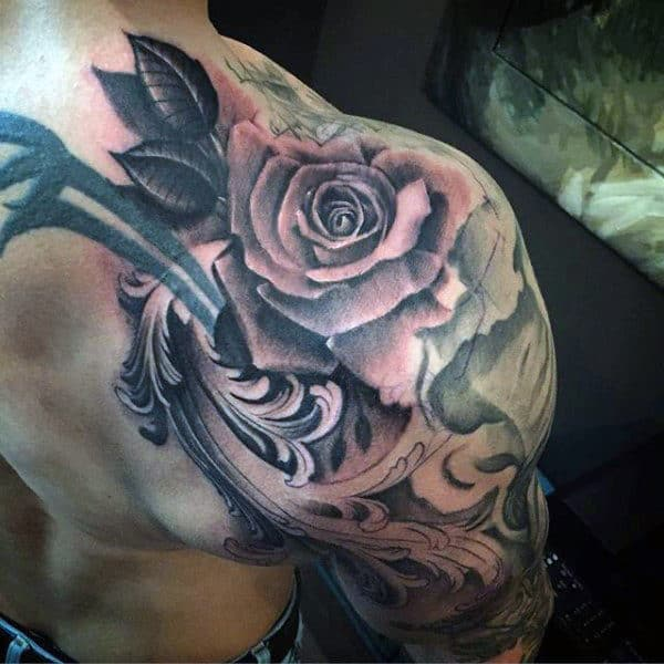 Shoulder Half Sleeve Rose Flower Filigree Male Tattoo Ideas