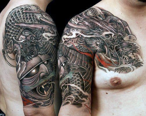 Shoulder Japanese Samurai Tattoo Designs For Men