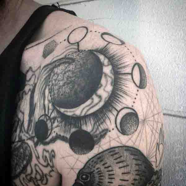 Shoulder Line Work Mens Moon Phase Tattoo