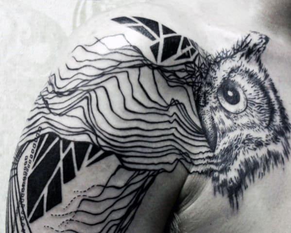 Shoulder Lines Geometric Owl Mens Tattoo Design