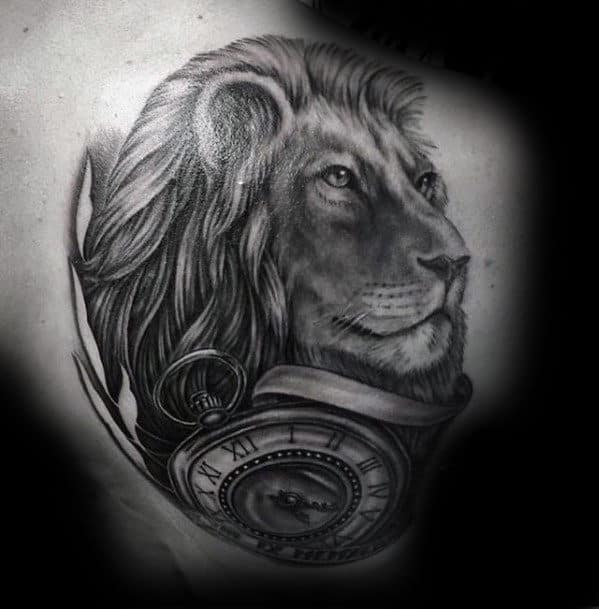 Shoulder Lion With Pocket Watch Tattoo Design For Men