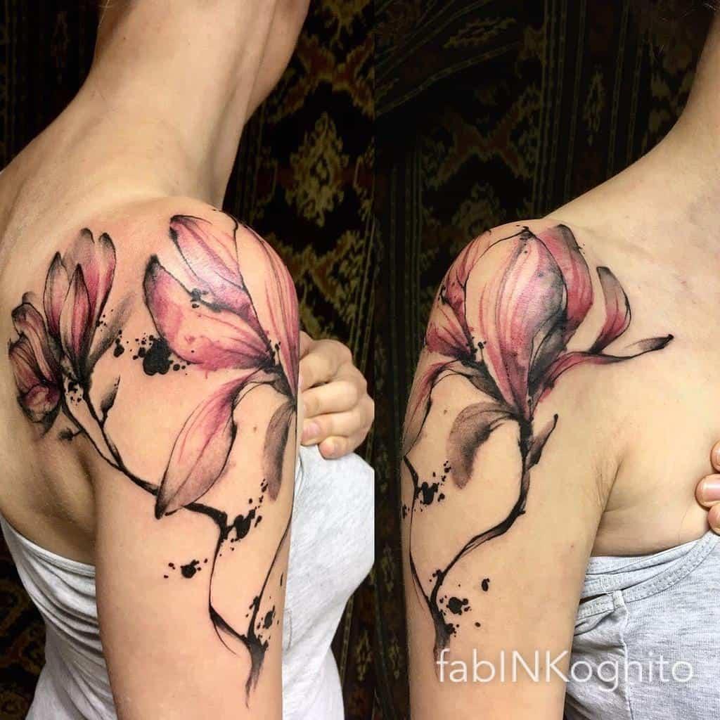 shoulder magnolia tattoos fabinkognito