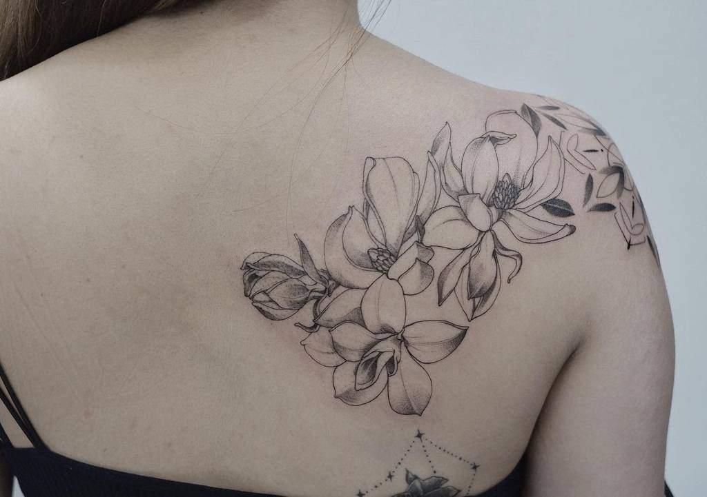 shoulder magnolia tattoos fleecircus