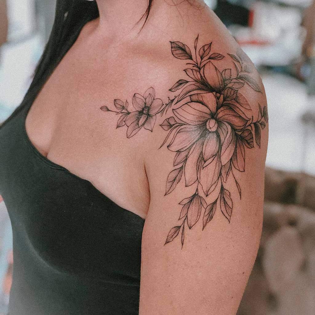 shoulder magnolia tattoos ghazal_jafari_tattoo_art