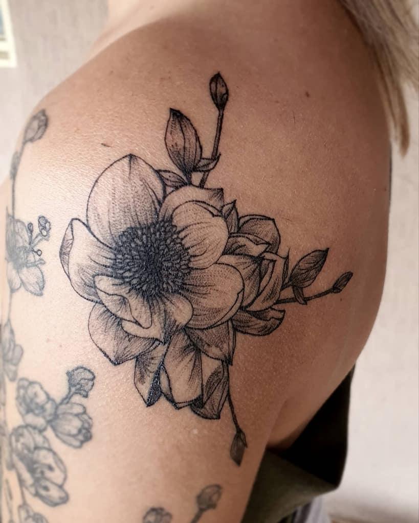 shoulder magnolia tattoos silvadiego86