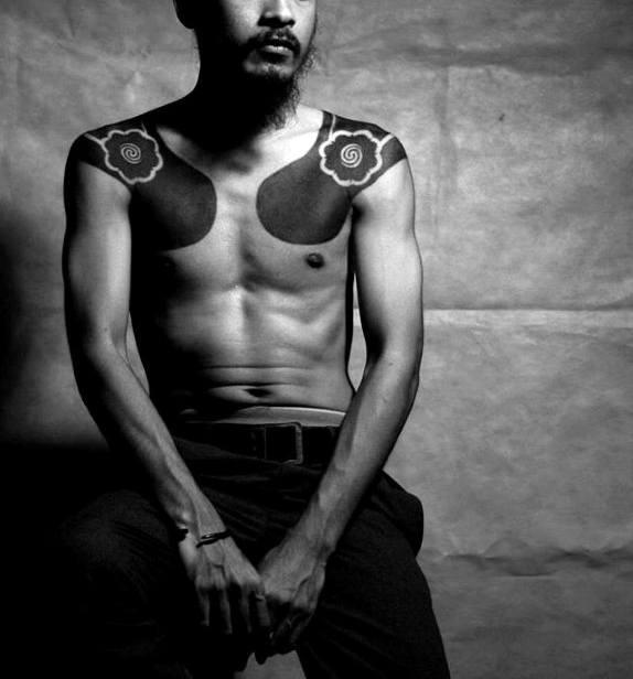 Shoulder Male All Black Ink Tattoos