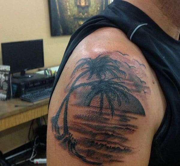 100 palm tree tattoos for men tropical design ideas for Tree shoulder tattoo