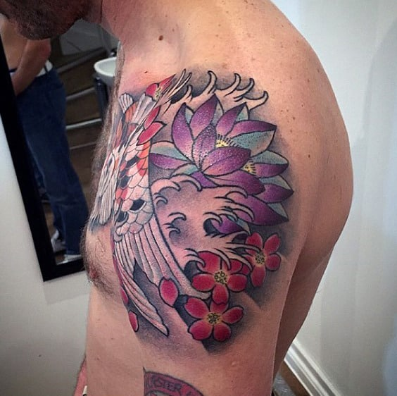 Shoulder Male Cherry Blossom Water Tattoo Ideas