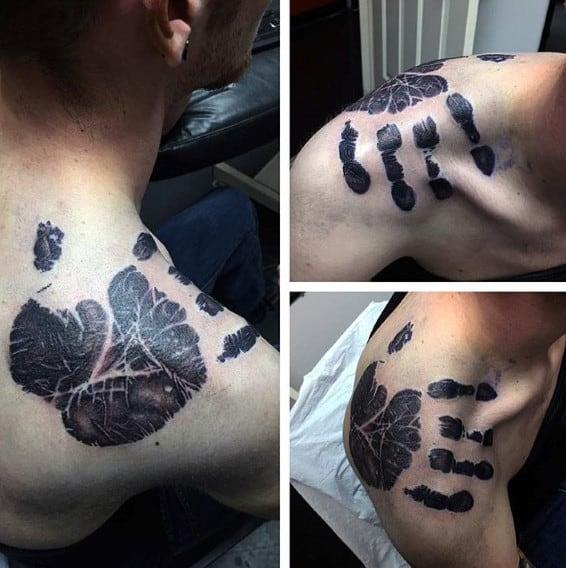 Shoulder Male Handprint Tattoo Designs