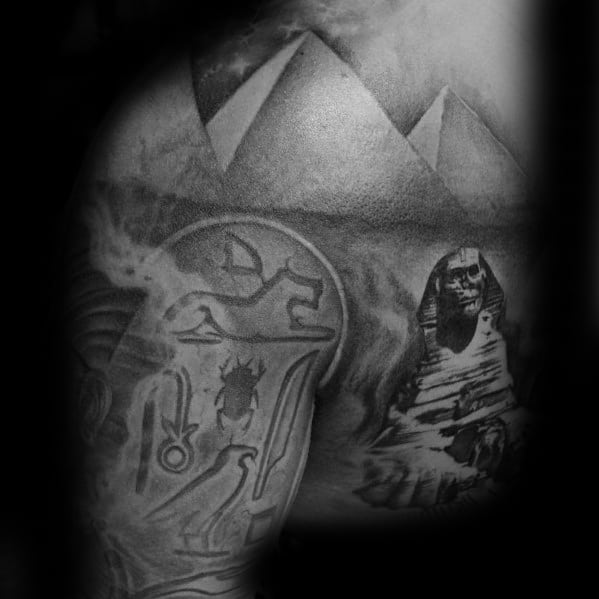 Shoulder Male Hieroglyphics Tattoo Design Inspiration