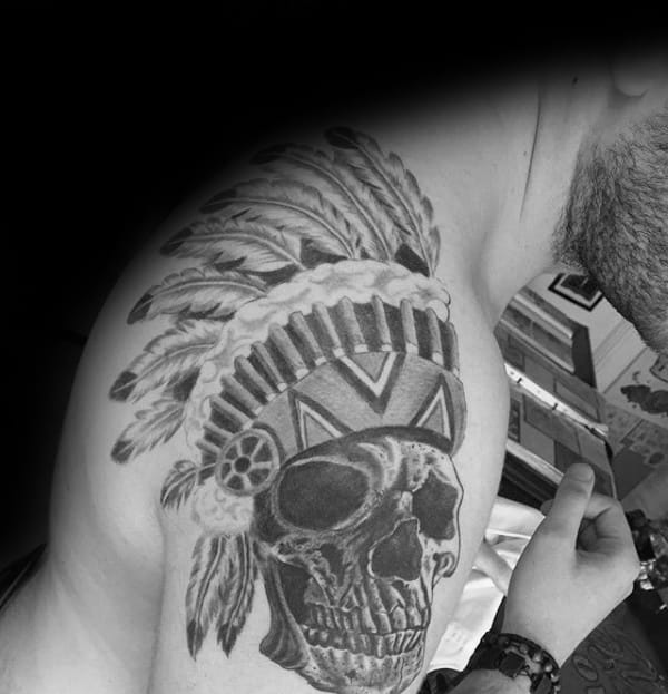 Shoulder Male Indian Skull Tattoo