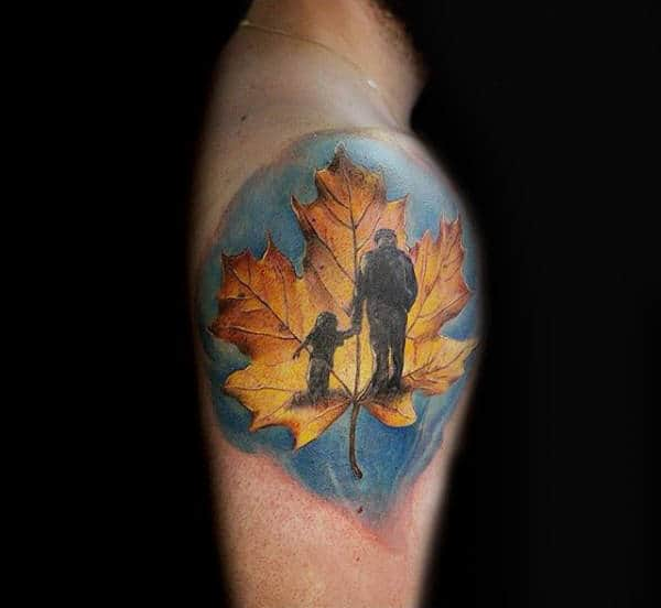 Shoulder Male Maple Leaf Father And Son Tattoos