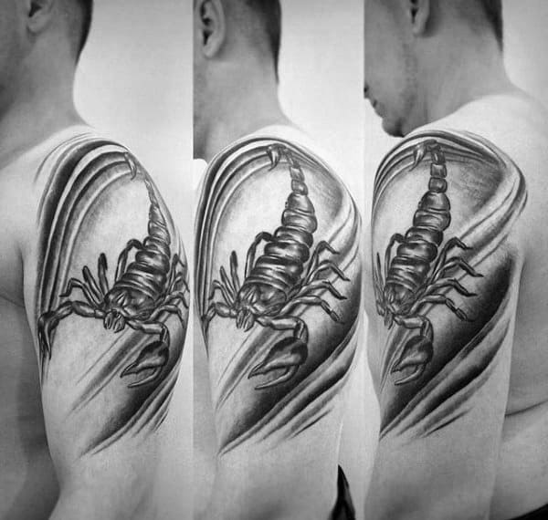 Shoulder Male Stunning Scorpion Tattoo