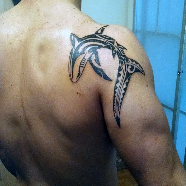 Shoulder Male Tribal Shark Tattoo Inspiration