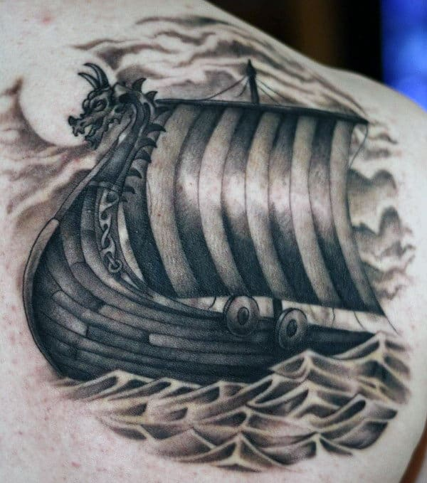 Shoulder Male Viking Boat Tattoos
