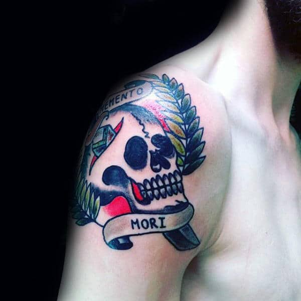 Shoulder Memento Mori Skull Traditional Mens Tattoos