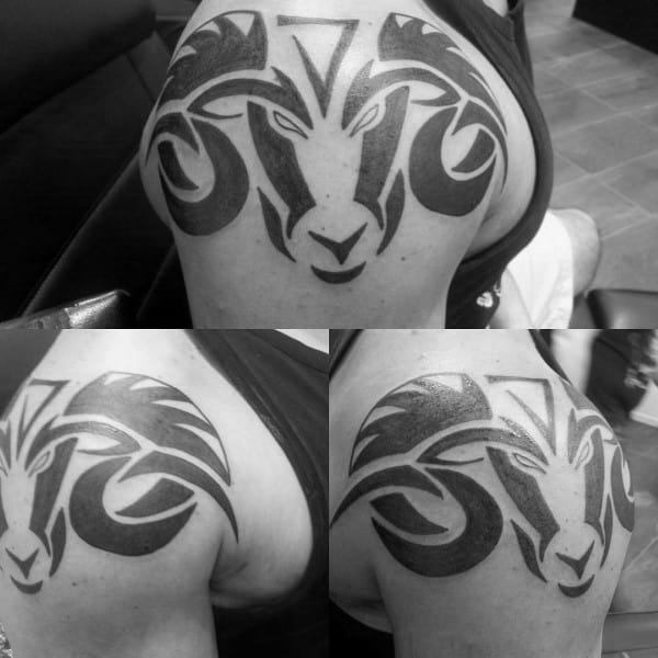 Shoulder Mens Aries Tribal Tattoo