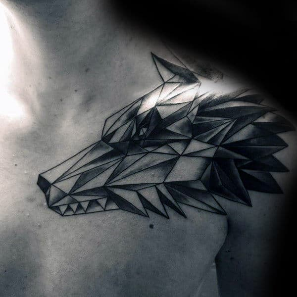 shoulder-mens-geometric-wolf-tattoo-ideas