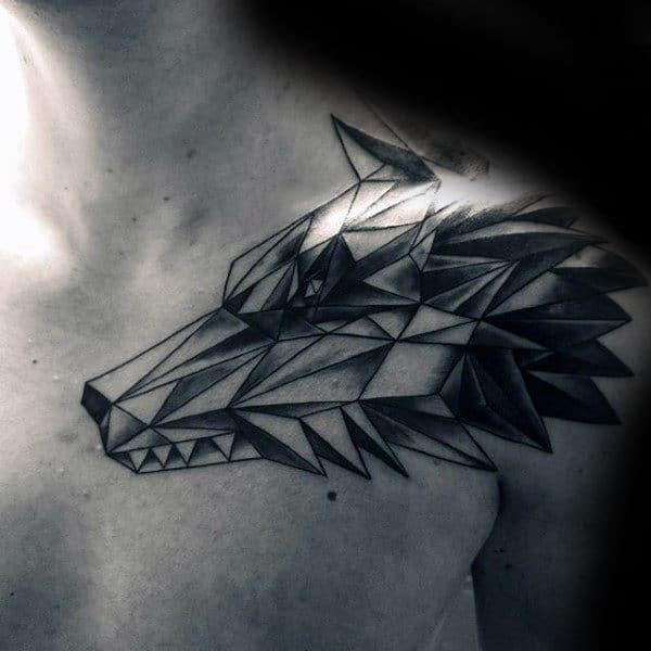 Shoulder Mens Geometric Wolf Tattoo Ideas