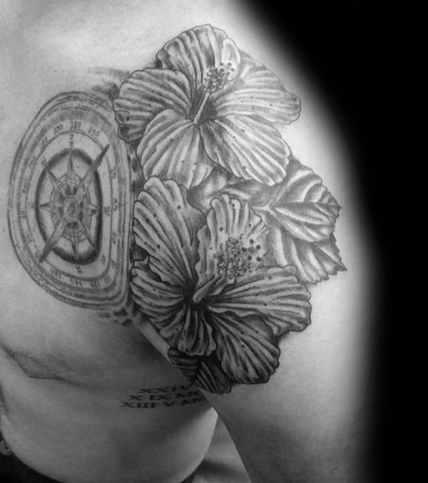 Shoulder Mens Hibiscus Flowers With Compass Tattoo