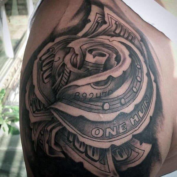 Shoulder Money Rose Tattoos For Guys