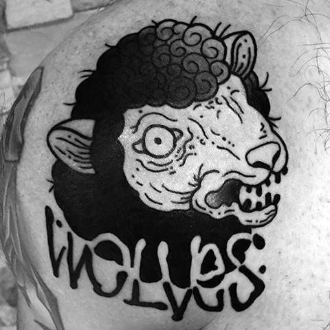 Shoulder Negative Space Wolves Mens Sheep Tattoo Design Ideas