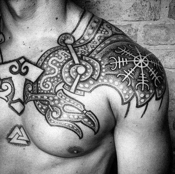Shoulder Norse Male Helm Of Awe Tattoo Designs