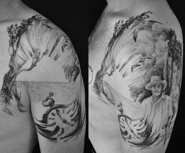 Shoulder Olive Tree Male Tattoos