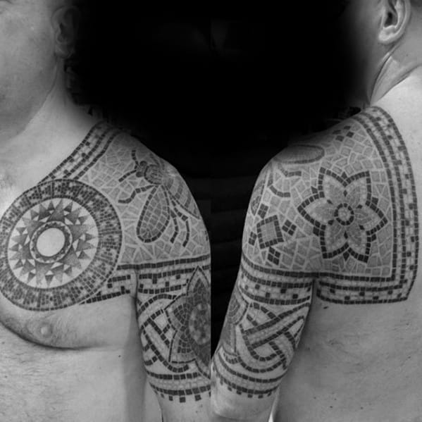 Shoulder Pattern Artistic Male Mosaic Tattoo Ideas