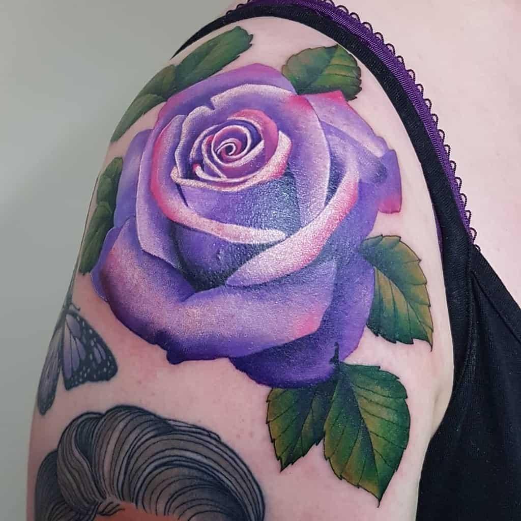 shoulder purple rose tattoos katyhowarthtattoo