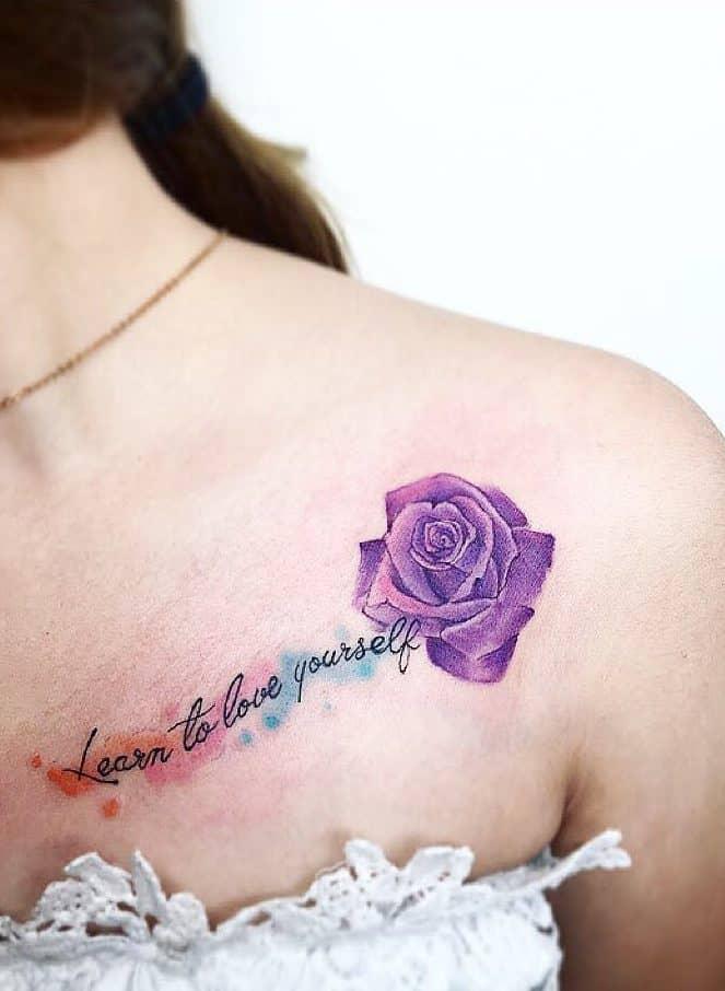 shoulder purple rose tattoos tat2story