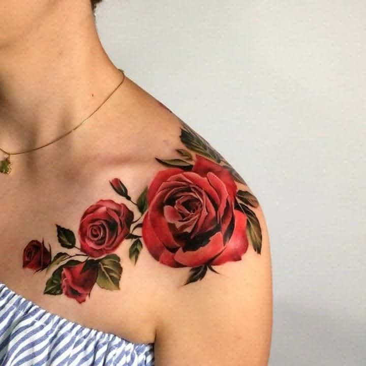 shoulder red rose tattoos 2 lindachristinefisher