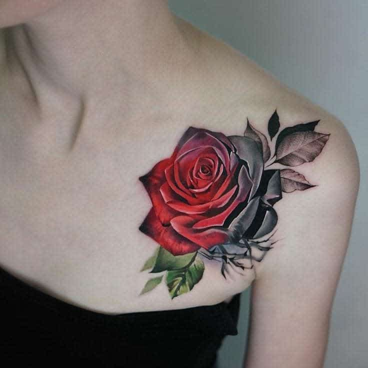 shoulder red rose tattoos 3 lindachristinefisher