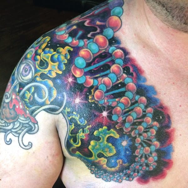 Shoulder Science Tattoo Formen In Outer Space