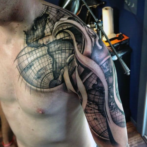 Shoulder Sleeve World Map Guys Tattoo