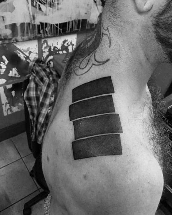 Shoulder Solid Black Ink Black Flag Tattoos For Men