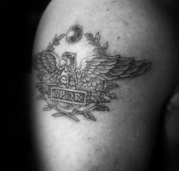 Shoulder Spqr Shaded Male Tattoo Design Ideas
