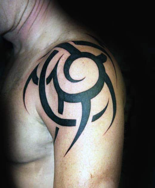 Shoulder Traditional Tribal Sun Black Ink Tattoos For Guys