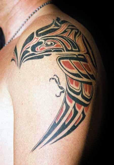 Shoulder Tribal Bird Male Tattoo Inspiration