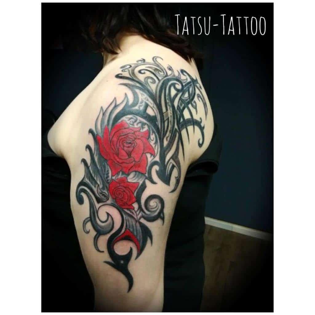 shoulder tribal rose tattoos tatsutattoo